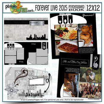 12x12 Forever Live 2015 Predesigned Book & Embellishments Digital Art - Digital Scrapbooking Kits