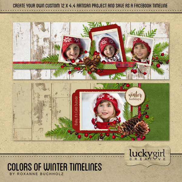 Colors Of Winter Timelines Digital Art - Digital Scrapbooking Kits