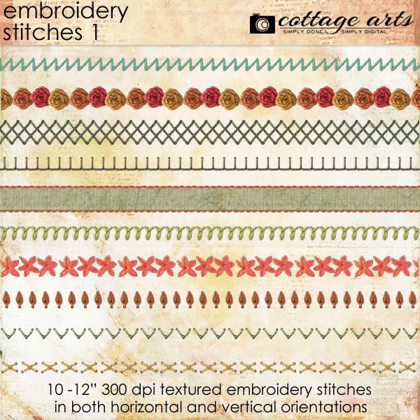 Embroidery Stitches 1 Digital Art - Digital Scrapbooking Kits