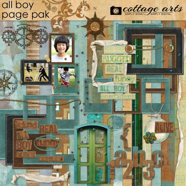 All Boy Page Pak Digital Art - Digital Scrapbooking Kits