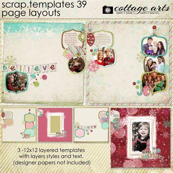 12 X 12 Scrap Templates 39 - Page Layouts Digital Art - Digital Scrapbooking Kits
