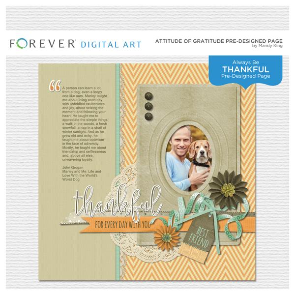 Attitude Of Gratitude Pre-designed Page Digital Art - Digital Scrapbooking Kits