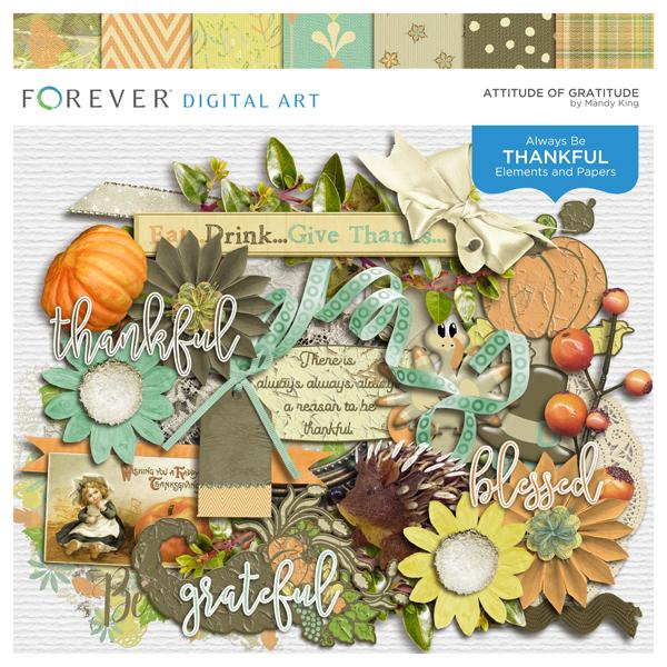 Attitude Of Gratitude Digital Art - Digital Scrapbooking Kits