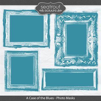 A Case Of The Blues Photo Masks Digital Art - Digital Scrapbooking Kits