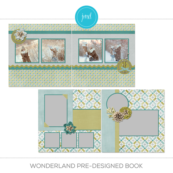 Wonderland Pre-designed Book Digital Art - Digital Scrapbooking Kits