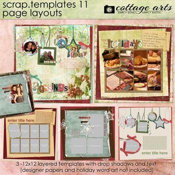12 X 12 Scrap Templates 11 - Page Layouts Digital Art - Digital Scrapbooking Kits