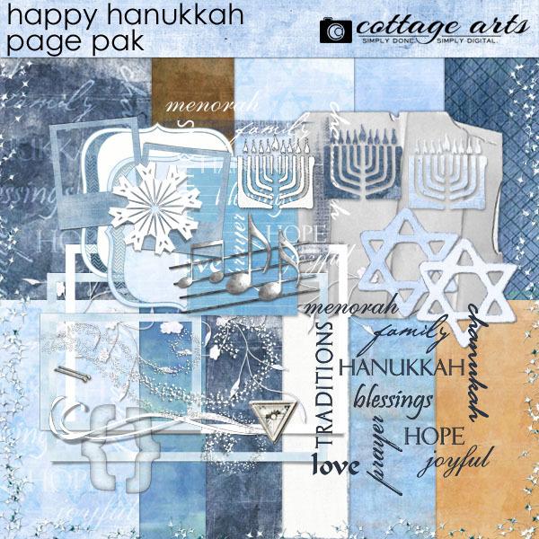 Happy Hanukkah Page Pak Digital Art - Digital Scrapbooking Kits