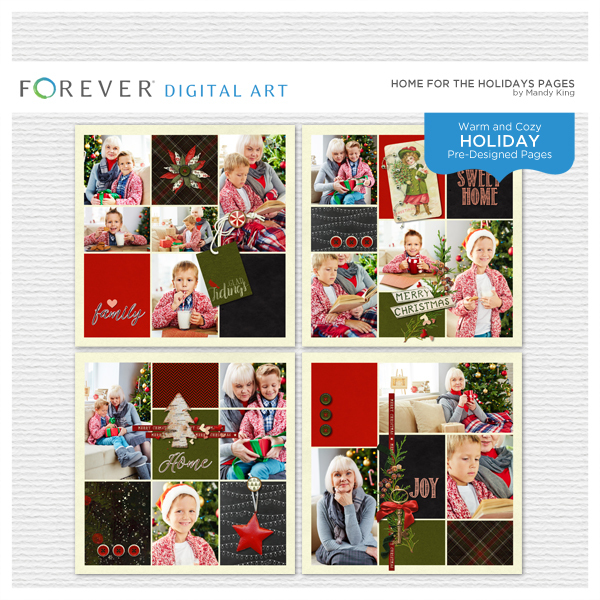 Home For The Holidays Pages Digital Art - Digital Scrapbooking Kits