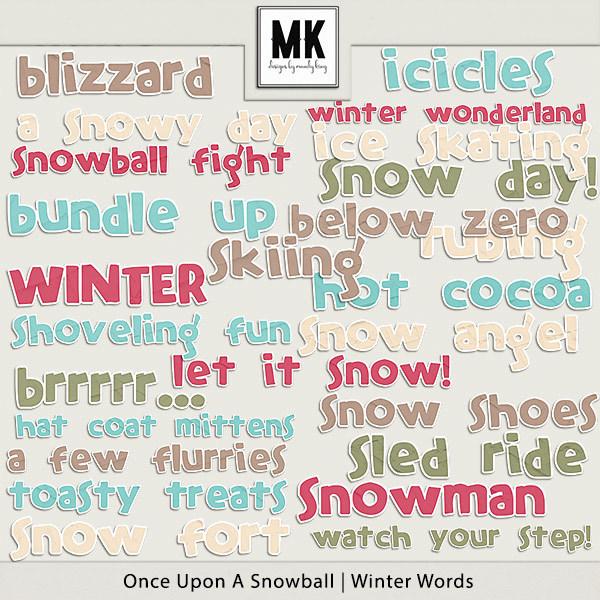 Once Upon A Snowball - Winter Words Digital Art - Digital Scrapbooking Kits