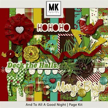 And To All A Good Night Page Kit Digital Art - Digital Scrapbooking Kits