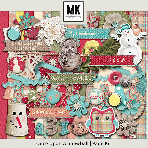 Once Upon A Snowball - Page Kit Digital Art - Digital Scrapbooking Kits