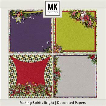 Making Spirits Bright - Decorated Papers Digital Art - Digital Scrapbooking Kits