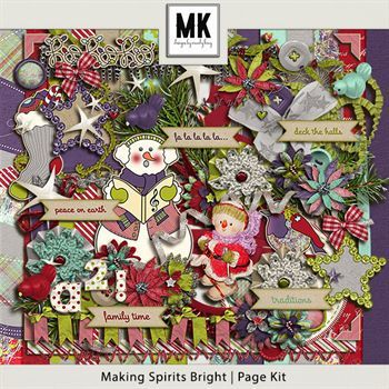 Making Spirits Bright - Page Kit Digital Art - Digital Scrapbooking Kits