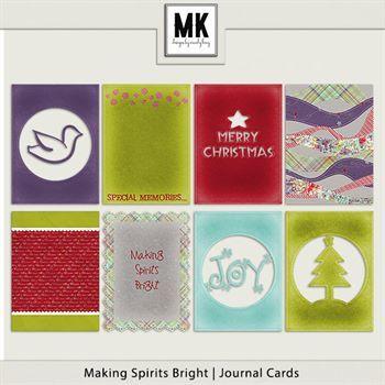 Making Spirits Bright - Journal Cards Digital Art - Digital Scrapbooking Kits