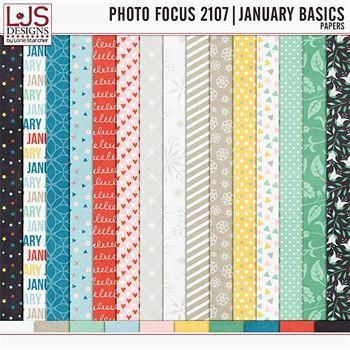 Photo Focus 2017- January Basics Papers Digital Art - Digital Scrapbooking Kits