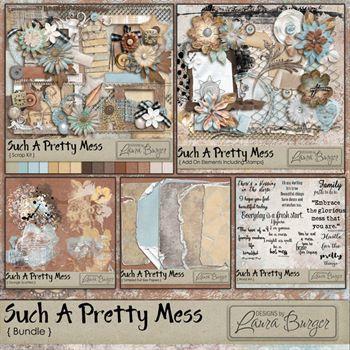 Such A Pretty Mess Bundle Digital Art - Digital Scrapbooking Kits