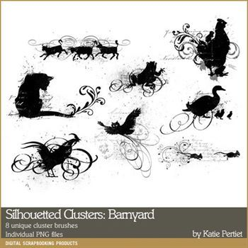Silhouetted Clusters Barnyard Digital Art - Digital Scrapbooking Kits