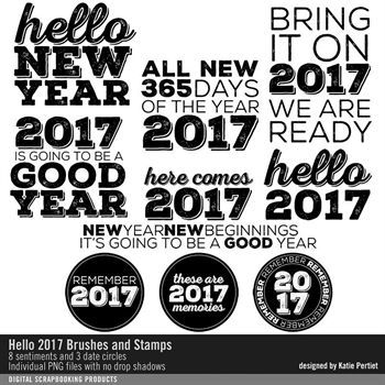 Hello 2017 Brushes And Stamps Digital Art - Digital Scrapbooking Kits