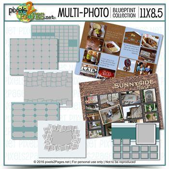 11x8.5 Multiphoto Blueprint Collection Digital Art - Digital Scrapbooking Kits