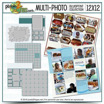 12x12 Multiphoto Blueprint Collection Digital Art - Digital Scrapbooking Kits