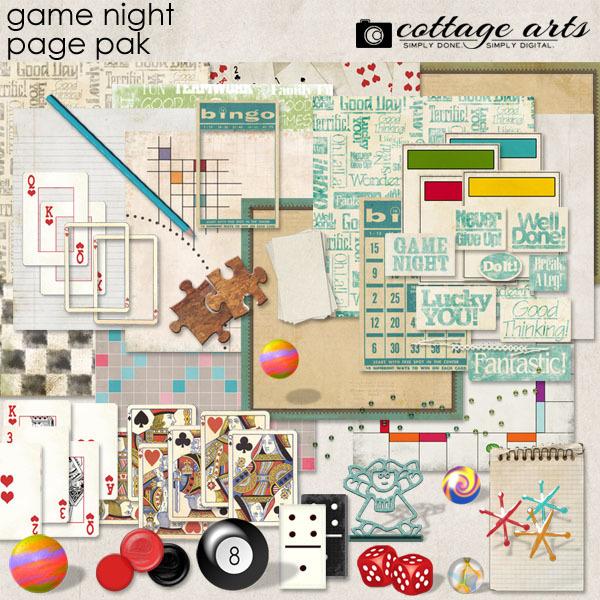 Game Night Page Pak Digital Art - Digital Scrapbooking Kits