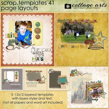 12 X 12 Scrap Templates 41 - Page Layouts Digital Art - Digital Scrapbooking Kits