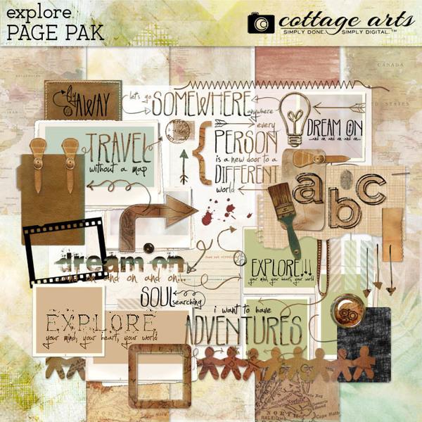 Explore Page Pak Digital Art - Digital Scrapbooking Kits