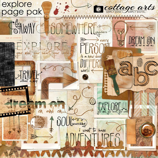 Explore Page Pak Digital Art - Digital Scrapbooking Kits