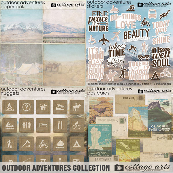 Outdoor Adventures Collection Digital Art - Digital Scrapbooking Kits