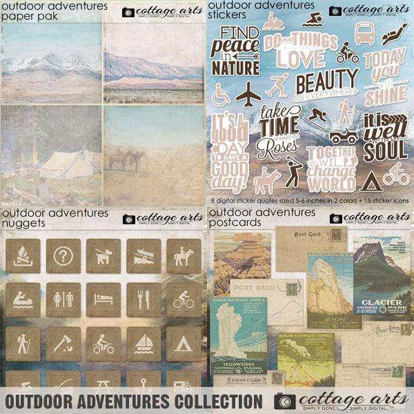 Outdoor Adventures Collection Digital Art - Digital Scrapbooking Kits