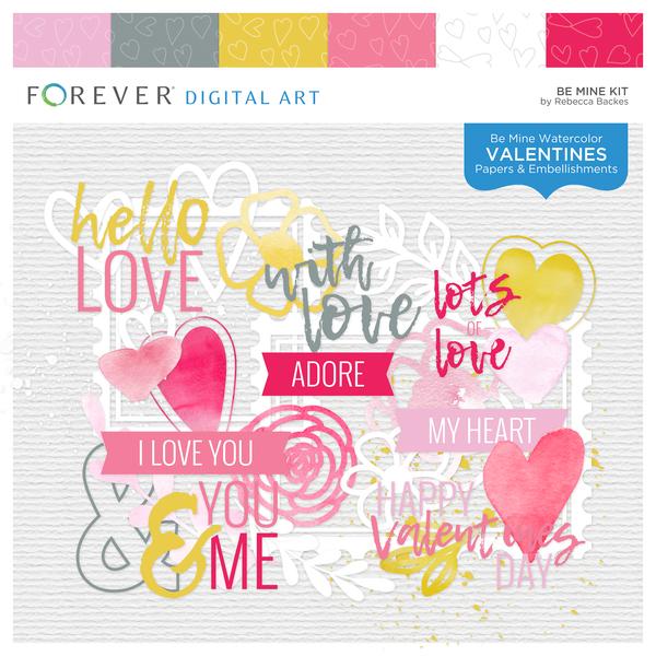 Be Mine Kit Digital Art - Digital Scrapbooking Kits