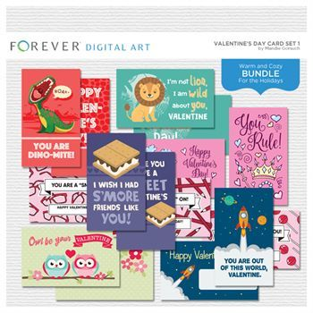 Valentine's Day Card Set 1 Digital Art - Digital Scrapbooking Kits