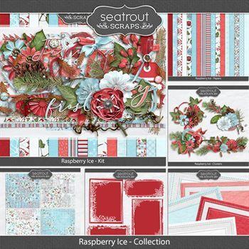 Raspberry Ice Discounted Bundle Digital Art - Digital Scrapbooking Kits