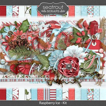 Raspberry Ice Kit Digital Art - Digital Scrapbooking Kits