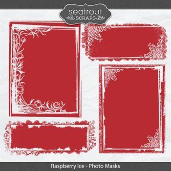 Raspberry Ice Photo Masks Digital Art - Digital Scrapbooking Kits