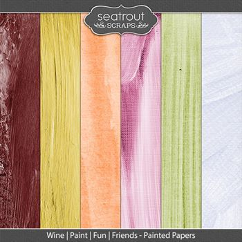 Wine Paint Fun Friends Painted Papers Digital Art - Digital Scrapbooking Kits