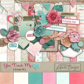 You Touch My Heart Scrap Kit Digital Art - Digital Scrapbooking Kits