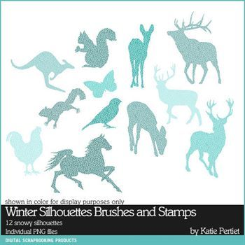 Winter Silhouettes Brushes And Stamps Digital Art - Digital Scrapbooking Kits