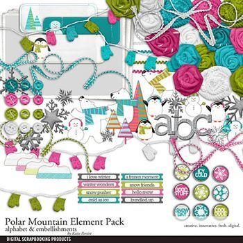 Polar Mountain Element Pack Digital Art - Digital Scrapbooking Kits