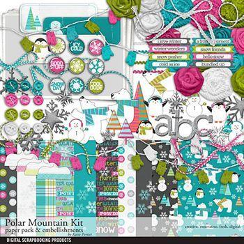 Polar Mountain Scrapbook Kit Digital Art - Digital Scrapbooking Kits