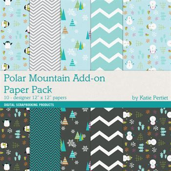 Polar Mountain Add-on Paper Pack Digital Art - Digital Scrapbooking Kits