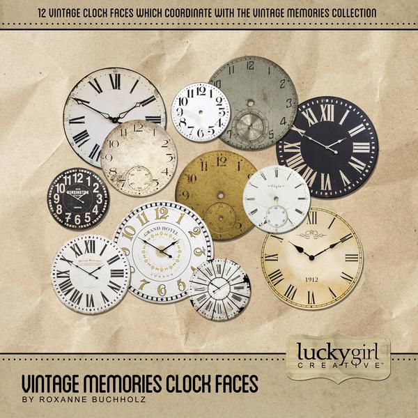 Vintage Memories Clock Faces Digital Art - Digital Scrapbooking Kits