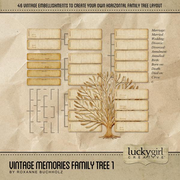 Vintage Memories Family Tree 1 Digital Art - Digital Scrapbooking Kits