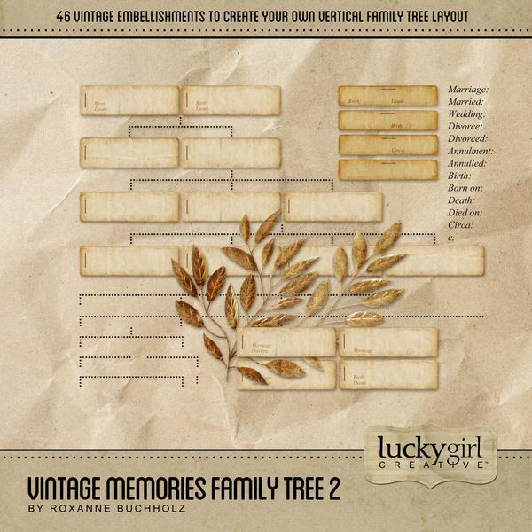 Vintage Memories Family Tree 2 Digital Art - Digital Scrapbooking Kits