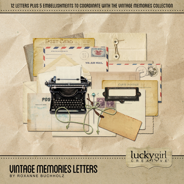 Vintage Memories Letters Digital Art - Digital Scrapbooking Kits