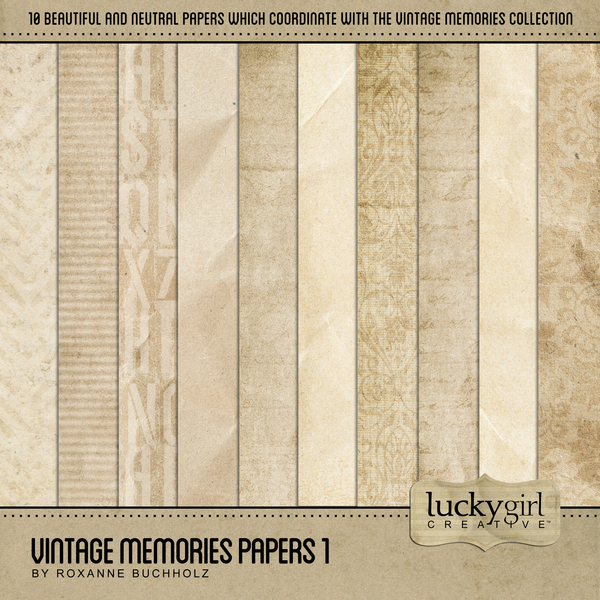 Vintage Memories Papers 1 Digital Art - Digital Scrapbooking Kits