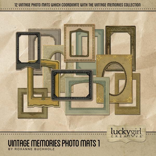Vintage Memories Photo Mats Digital Art - Digital Scrapbooking Kits