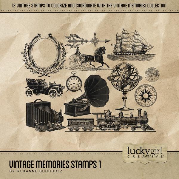 Vintage Memories Stamps 1 Digital Art - Digital Scrapbooking Kits