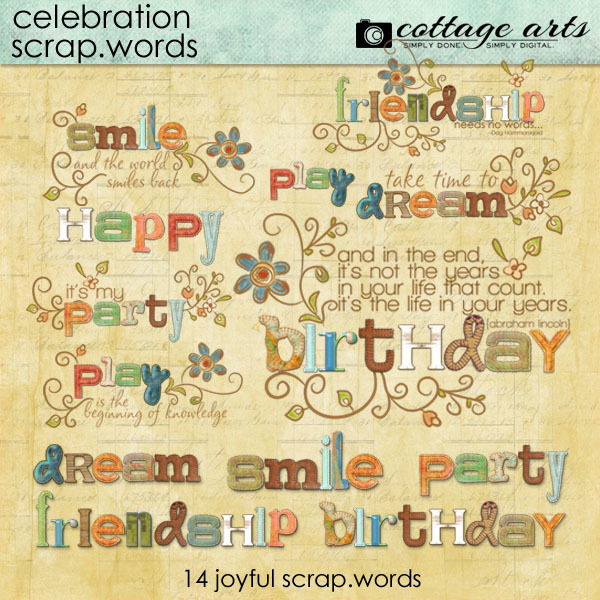 Celebration Scrap.words Digital Art - Digital Scrapbooking Kits