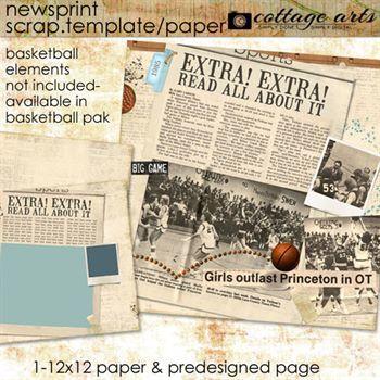 Newsprint Scrap Template And Paper Digital Art - Digital Scrapbooking Kits